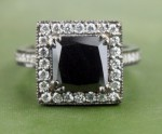 Black Stone Engagement Rings 3.38 Ct Black & White Diamond Princess Shape Sterling Silver Solitaire