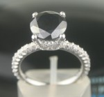 Black Diamond Engagement Rings 3.60 Ct Black & White Diamond Round Shape Sterling Silver Solitaire