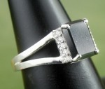 Enhanced Black Diamond Ring 2.32 Ct Black & White Diamond Round Shape Sterling Silver Solitaire