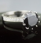 Enhanced Black Diamond Ring 3.83 Ct Black & White Diamond Round Shape Sterling Silver Solitaire
