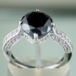 Black and White Diamond Engagement Rings 3.82 Ct Black & White Diamond Round Shape Sterling Silver Solitaire