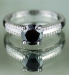 Black Stone Engagement Rings 1.22 Ct Black & White Diamond Round Shape Sterling Silver Solitaire