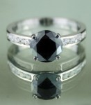 Black diamonds Ring 2.05 Ct Black & White Diamond Round Shape Sterling Silver Solitaire