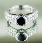 Cheap Black Diamond Engagement Rings 4.00 Ct Black & White Diamond Round Shape Sterling Silver Solitaire