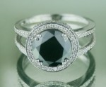 Artistry Black Diamond Ring 3.99 Ct Black & White Diamond Round Shape Sterling Silver Solitaire