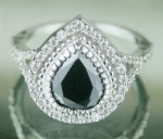 Black Diamond Rings 3.18 Ct Black & White Diamond Pear Shape Sterling Silver Solitaire
