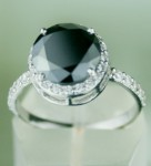 Black Stone Engagement Rings 3.84 Ct Black & White Diamond Round Shape Sterling Silver Solitaire