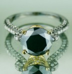 Black diamonds Ring 4.26 Ct Black & White Diamond Round Shape Sterling Silver Solitaire