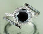 Black and White Diamond Engagement Rings 3.16 Ct Black & White Diamond Round Shape Sterling Silver Solitaire