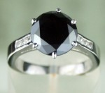 Artistry Black Diamond Ring 3.18 Ct Black & White Diamond Round Shape Sterling Silver Solitaire