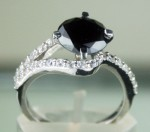 Black Stone Engagement Rings 2.77 Ct Black & White Diamond Round Shape Sterling Silver Solitaire