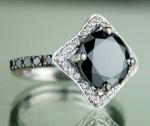 Cheap Black Diamond Engagement Rings 3.65 Ct Black & White Diamond Round Shape Sterling Silver Solitaire
