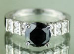 Artistry Black Diamond Ring 2.29 Ct Black & White Diamond Round Shape Sterling Silver Solitaire