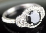Artistry Black Diamond Ring 2.74 Ct Black & White Diamond Round Shape Sterling Silver Solitaire