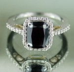 Black Stone Engagement Rings 2.82 Ct Black Diamond Cushion Shape Sterling Silver Wedding Solitaire
