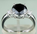 Enhanced Black Diamond Ring 2.55 Ct Black & White Diamond Round Shape Sterling Silver Solitaire