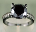 Black Stone Engagement Rings 5.02 Ct Black & White Diamond Round Shape Sterling Silver Solitaire