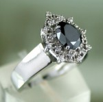 Cheap Black Diamond Engagement Rings 1.25 Ct Black & White Diamond Round Shape Sterling Silver Solitaire