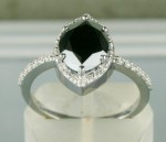 Black Stone Engagement Rings 2.72 Ct Black & White Diamond Marquise Shape Sterling Silver Solitaire