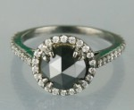 Black Diamond Engagement Rings 2.91 Ct Black & White Diamond Round Shape Sterling Silver Solitaire