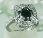 Black diamonds Ring 2.48 Ct Black & White Diamond Round Shape Sterling Silver Solitaire