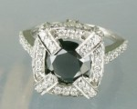 Enhanced Black Diamond Ring 3.77 Ct Black & White Diamond Round Shape Sterling Silver Solitaire