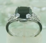 Artistry Black Diamond Ring 3.57 Ct Black & White Diamond Cushion Shape Sterling Silver Solitaire