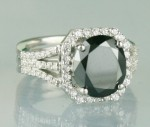 Cheap Black Diamond Engagement Rings 3.97 Ct Black & White Diamond Round Shape Sterling Silver Solitaire