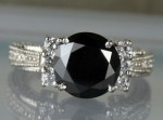 Black diamond Wedding Rings 4.18 Ct Black & White Diamond Round Shape Sterling Silver Solitaire