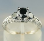 Black and White Diamond Engagement Rings 1.90 Ct Black & White Diamond Round Shape Sterling Silver Solitaire