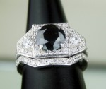 Black Stone Engagement Rings Set 3.89 Ct Black & White Diamond Round Shape Sterling Silver