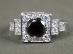 Black Diamond Engagement Rings 1.63 Ct Black & White Diamond Round Shape Sterling Silver Solitaire