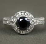 Artistry Black Diamond Ring 2.85 Ct Black & White Diamond Round Shape Sterling Silver Solitaire
