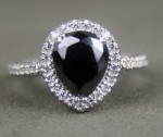 Black Diamond Rings 3.24 Ct Black & White Diamond Pear Shape Sterling Silver Solitaire