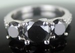 Artistry Black Diamond Ring 3.43 Ct Black & White Diamond Round Shape Sterling Silver Solitaire