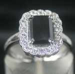 Black diamonds Ring 2.73 Ct Black & White Diamond Radiant Shape Sterling Silver Solitaire