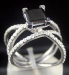 Black Diamond Engagement Rings 3.00 Ct Black & White Diamond Princess Shape Sterling Silver Solitaire