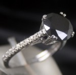 Black and White Diamond Engagement Rings 3.61 Ct Black & White Diamond Round Shape Sterling Silver Solitaire