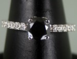 Black Diamond Engagement Rings 1.71 Ct Black & White Diamond Round Shape Sterling Silver Solitaire