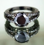 Artistry Black Diamond 3.49 Carat Diamond Solitaire Ring Solid Gold