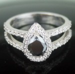 Black diamonds Ring 2.36 Carat Solitaire With Accents Ring Pear cut Solid Gold