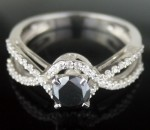 Black diamond Wedding Rings 1.34 Carat Solitaire Diamond Solid Gold