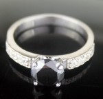 Artistry Black Diamond 1.77 Carat Engagement Solitaire Ring Solid Gold