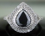 Black diamond Ring 3.18 Carat Solitaire Black Diamond Solid Gold