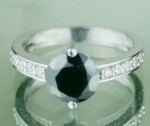 Black Diamond 2.06 Carat Solitaire With Accents Ring Solid Gold