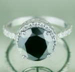 Black diamond Ring 3.84 Carat Engagement Solitaire Solid Gold