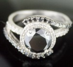 Enhanced Black Diamond 3.47 Carat Solitaire Black Diamond Ring Solid Gold