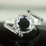 Black Diamond Rings 3.16 Carat Solitaire Engagement Wedding Solid Gold
