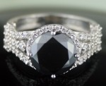 Black Diamond 4.45 Carat Solitaire Diamond Ring Solid Gold