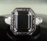 Black diamonds Ring 4.84 Carat Solitaire wz Accent Solid Gold